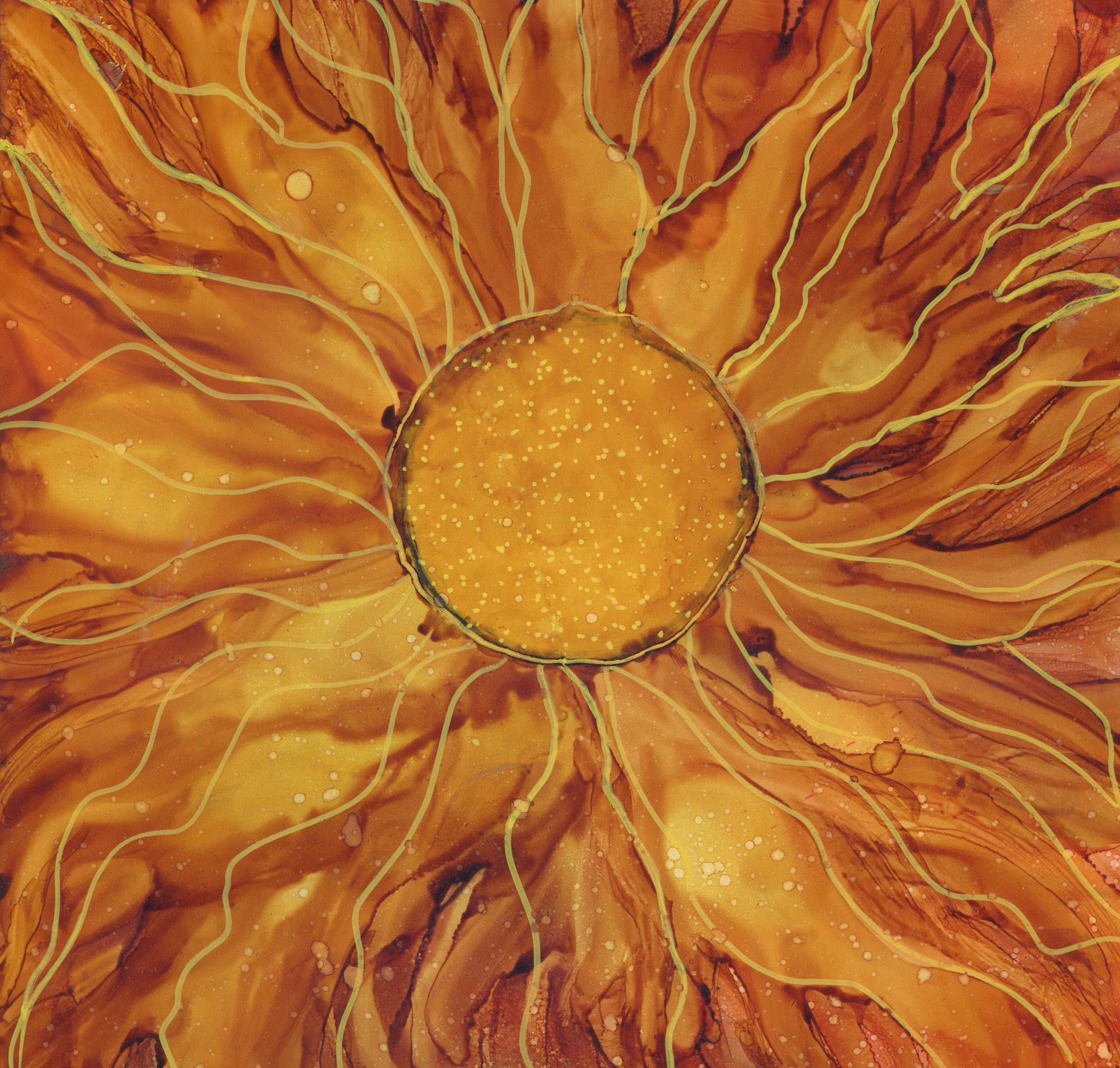 Sun-Flower-Alcohol-Ink-8-X-8