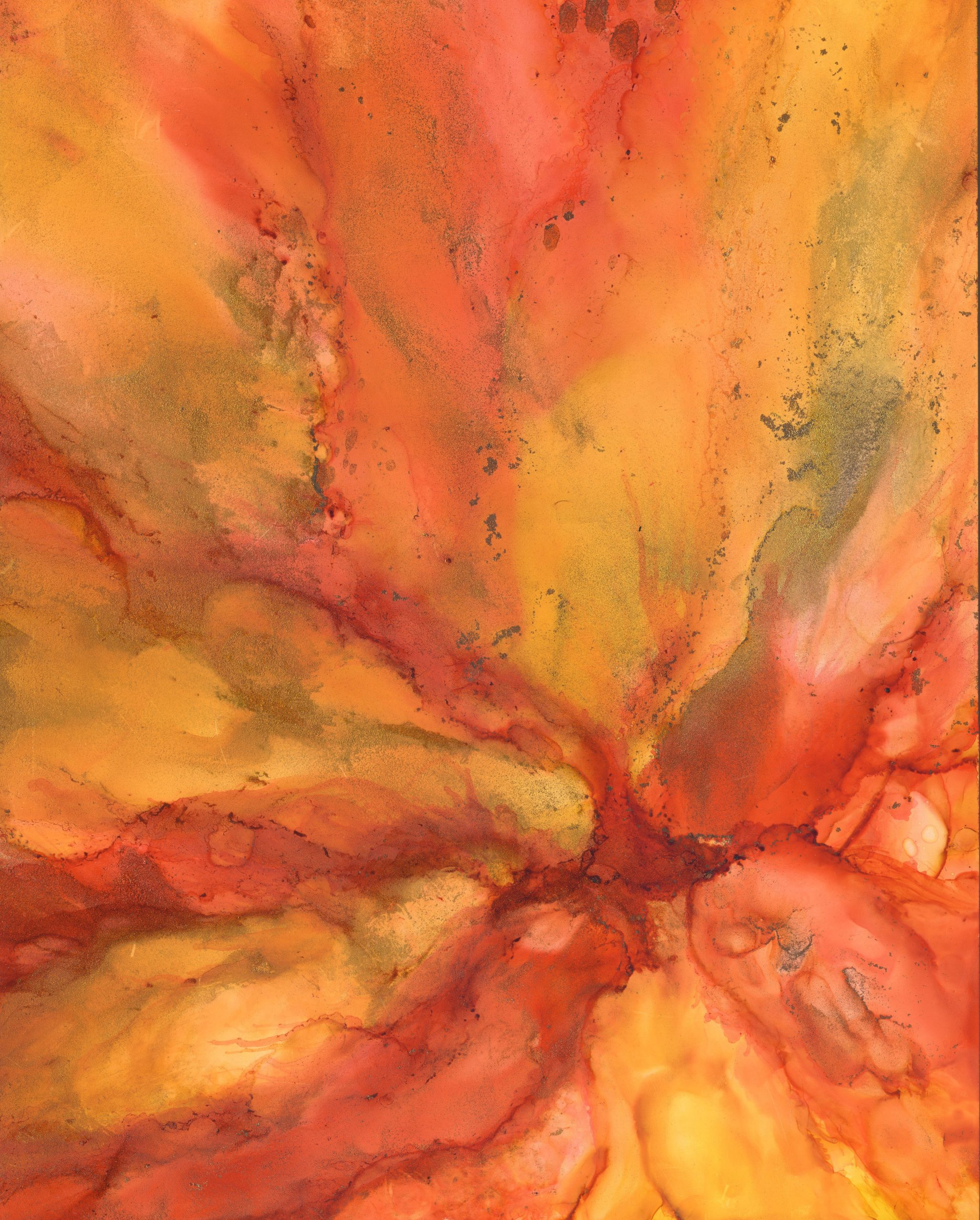 Sunburst Flower - Alcohol Ink - 11 X 14 - $150