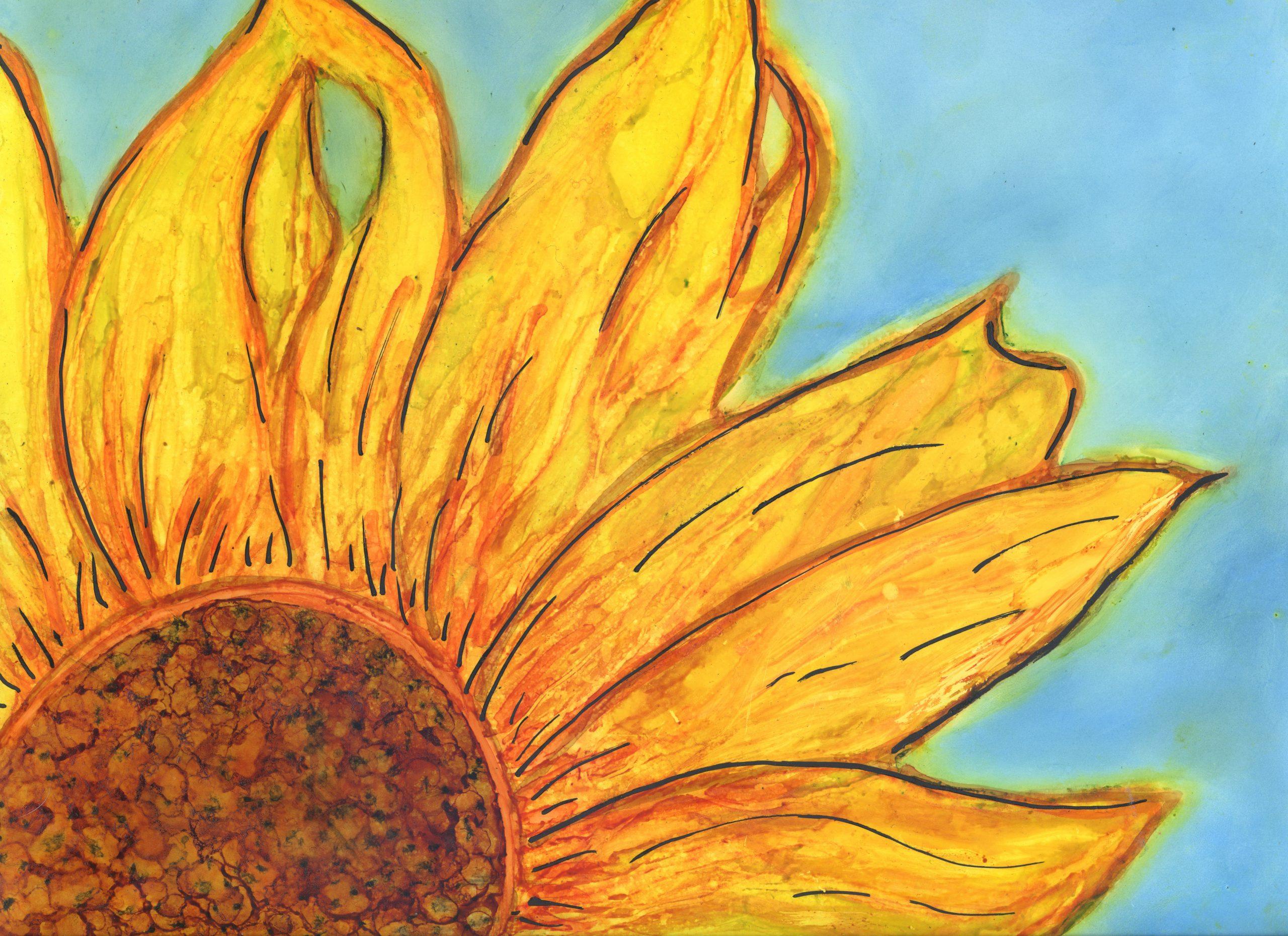 Sunshine Flower - Alcohol Ink - 9 X 12 - $140