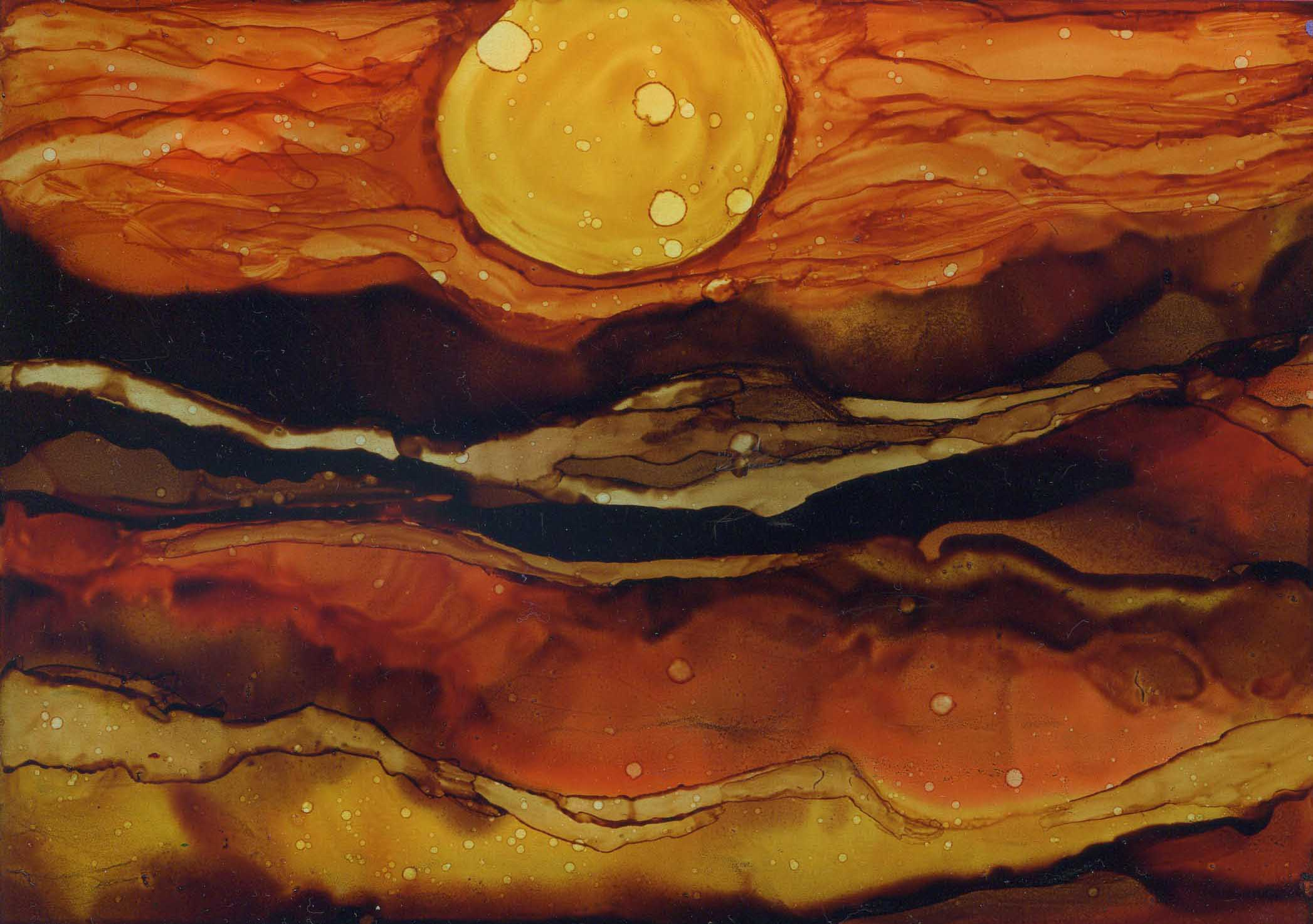 Tyler's Sun - Alcohol Ink - 5 X 7 - Sold - Print Available
