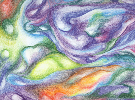 At Cellular Level - colored pencil 9x12, $95