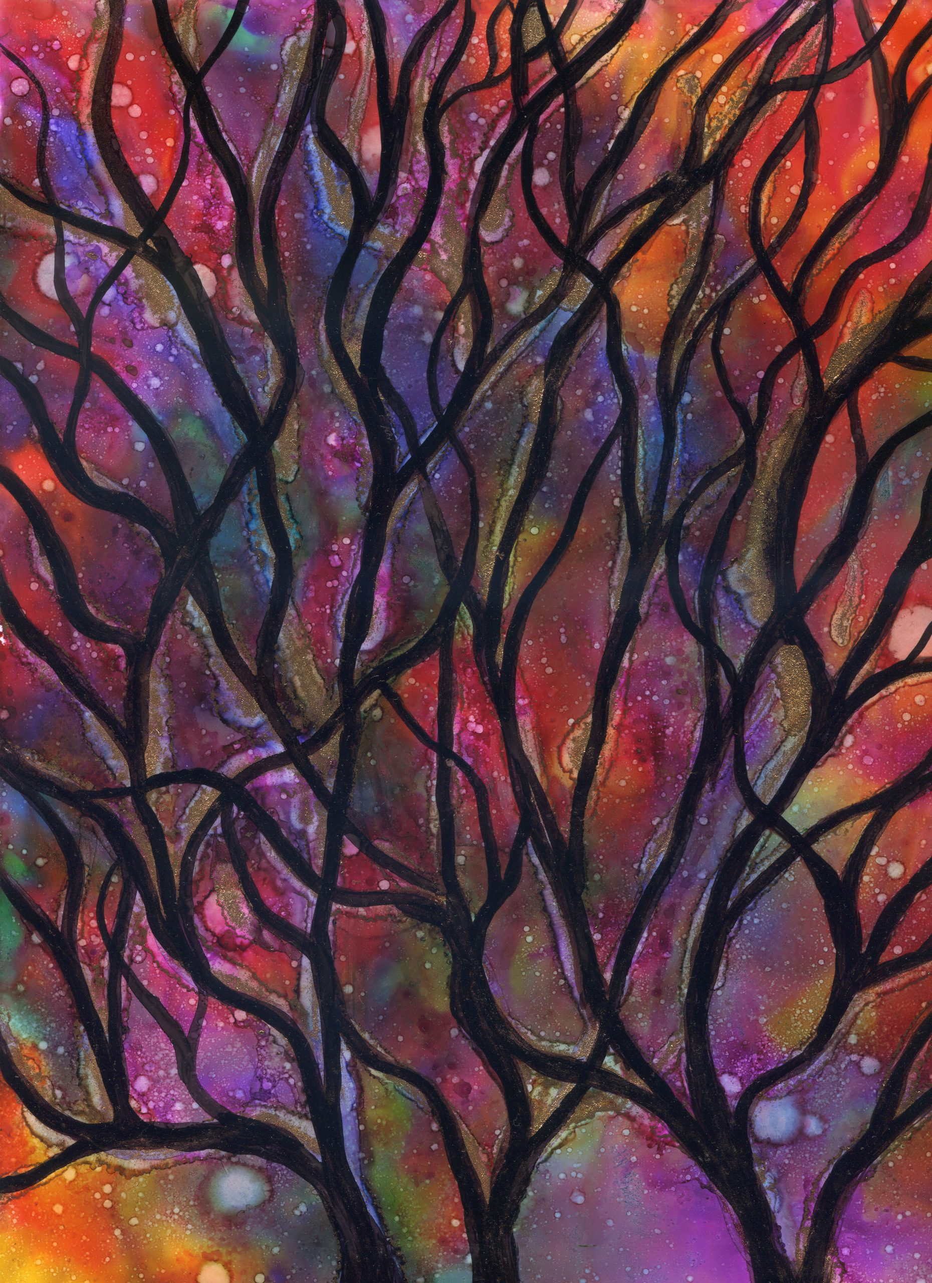 Branches in Silhouette - Alcohol Ink-9 X 12 - $150