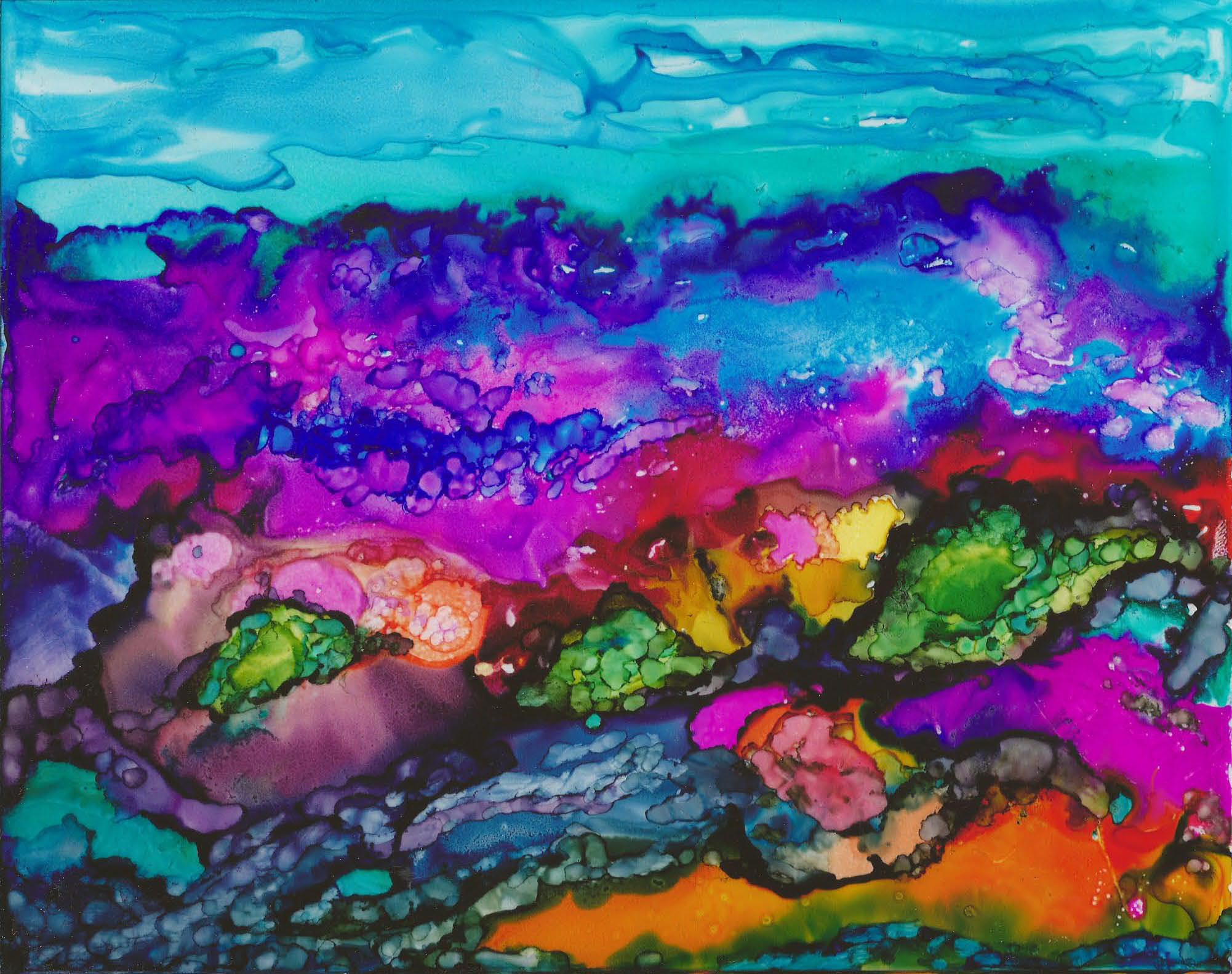 Colorful Landscape - Alcohol Ink on Glass 8 X 10 - Sold