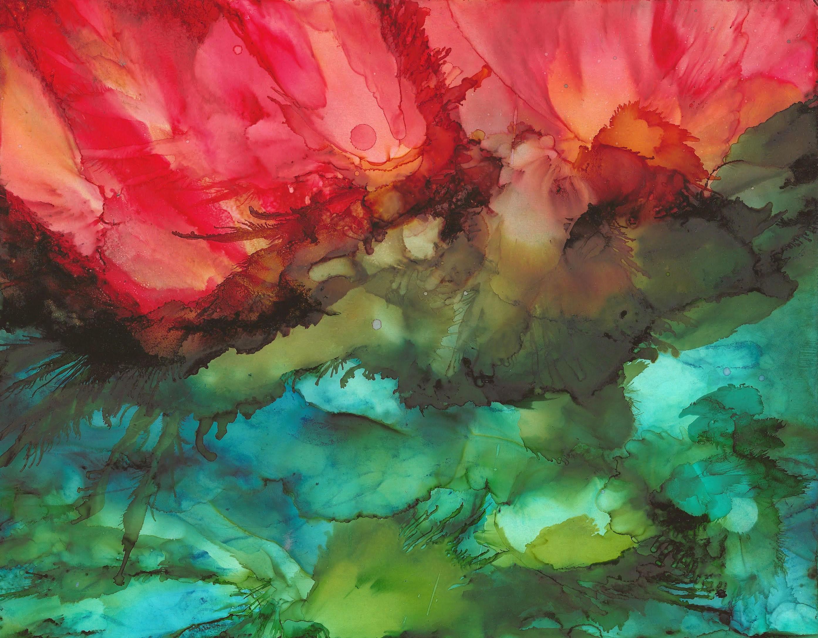 Fire and Flight - Alcohol Ink - 11 X 14 -Sold - Print Available