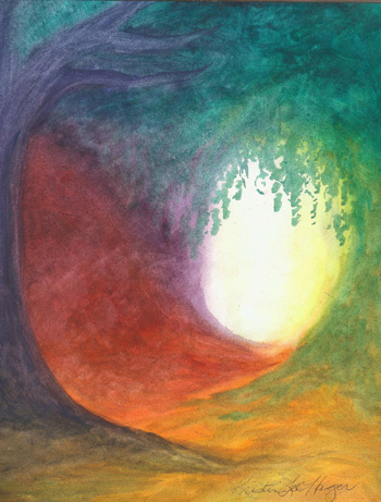 Light in the Forest - Watercolor - 8 X 11 - Sold - Print Available