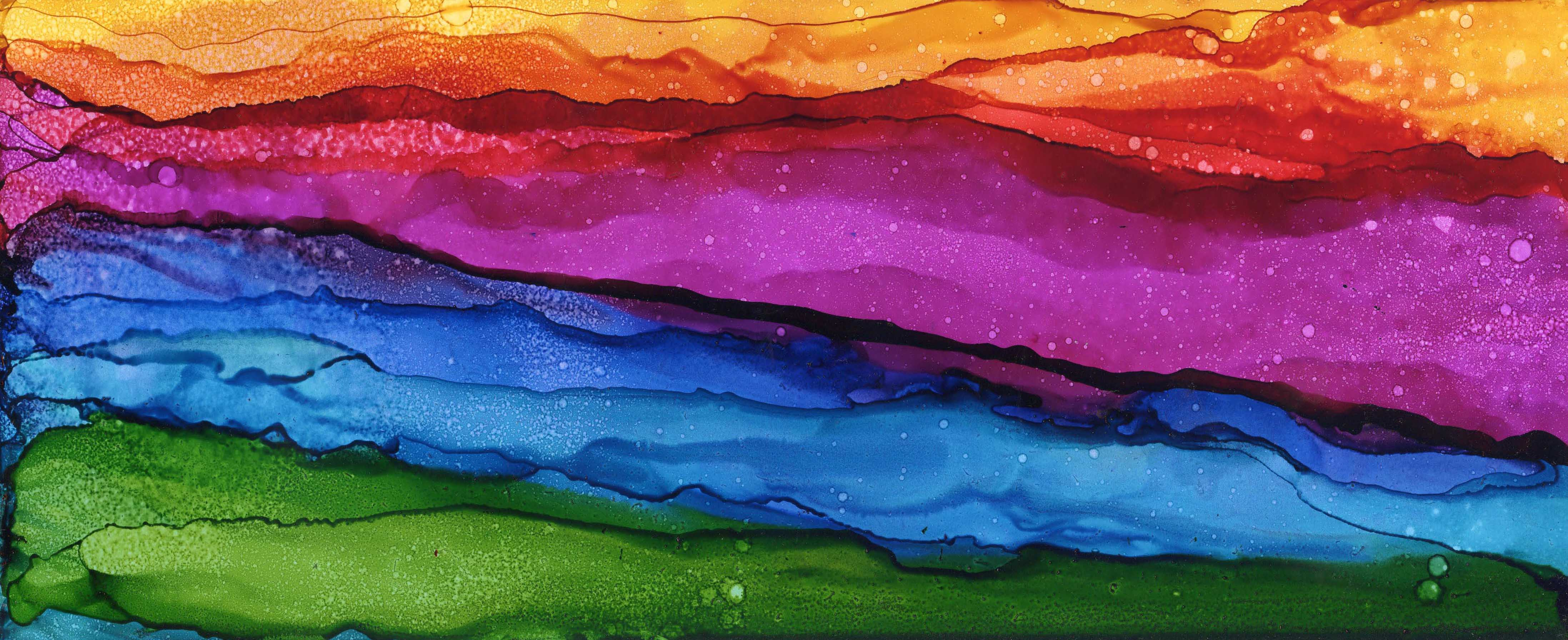 Magenta Mountain Valley - Alcohol Ink 6 X 15 - Sold - Print Available