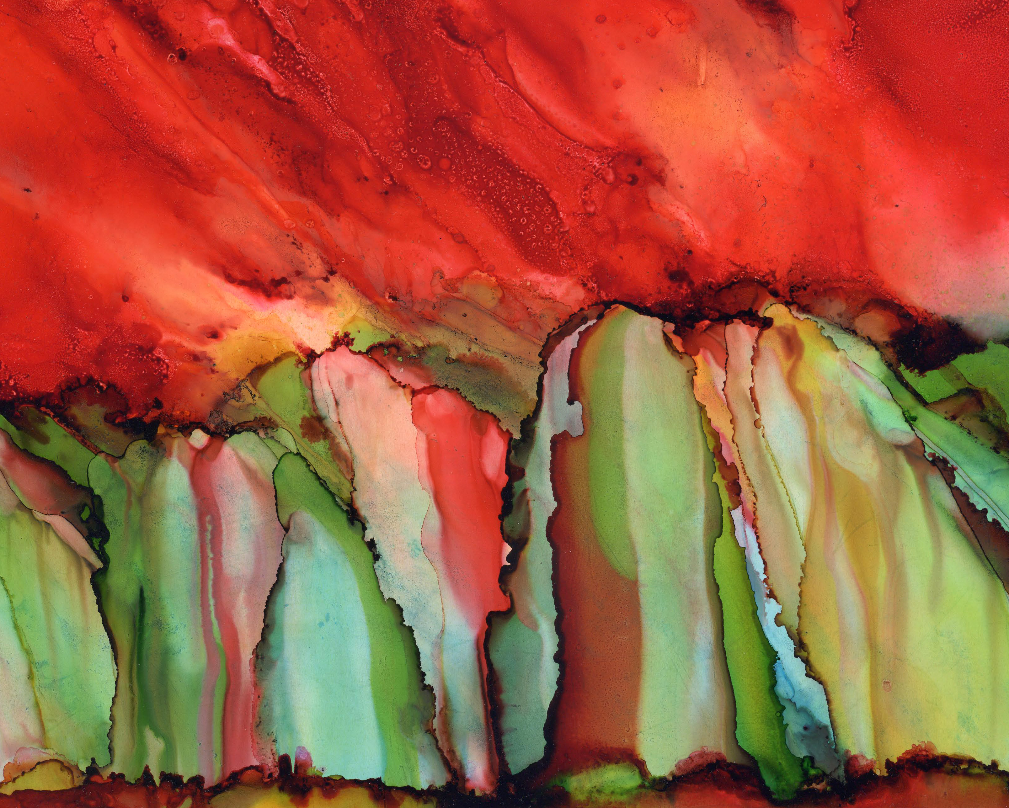 Painted Cliffs - Alcohol Ink 9 X 12 Sold