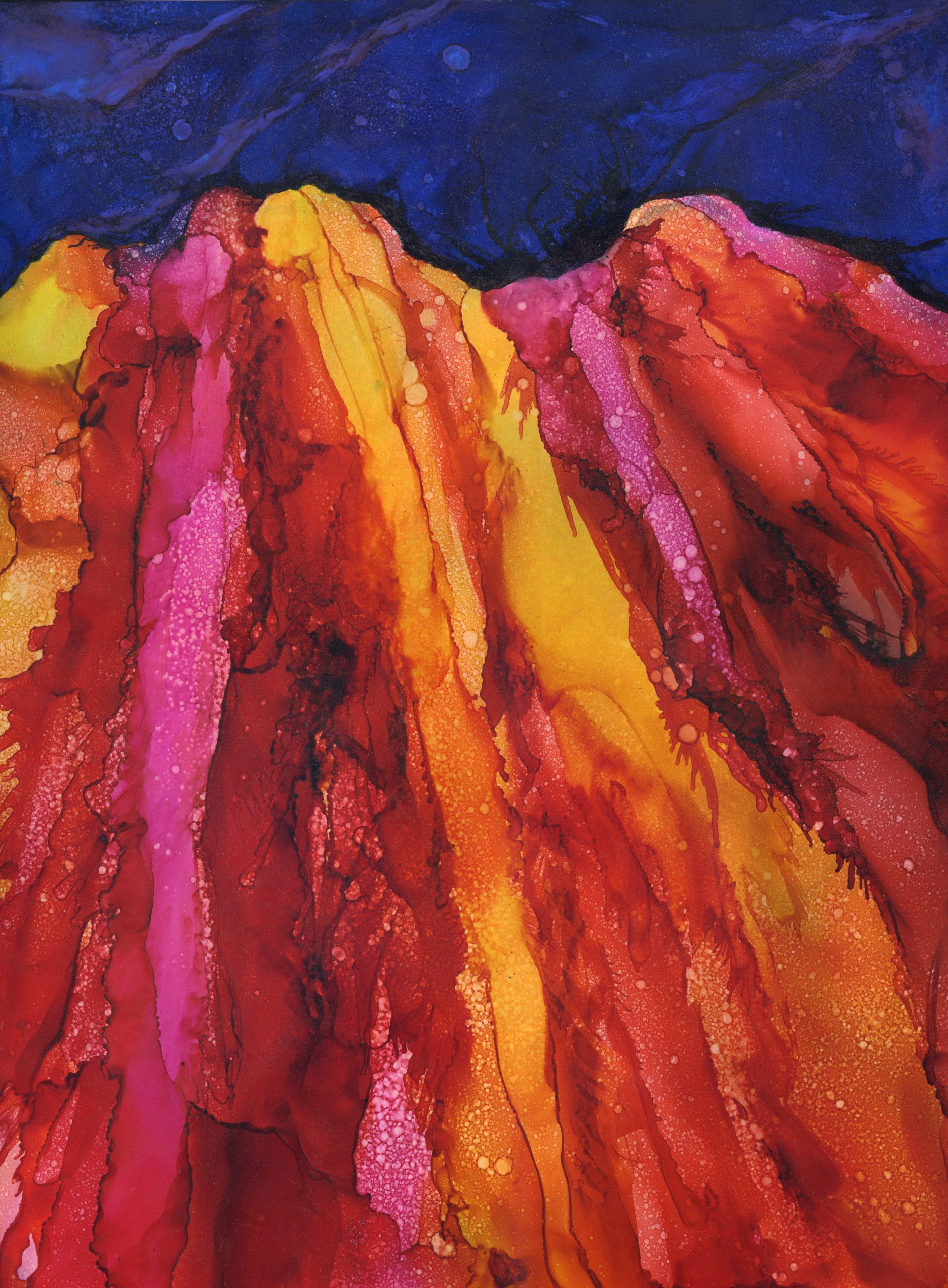 Painted Mountains - Alcohol Ink - 12 X 16 - $175