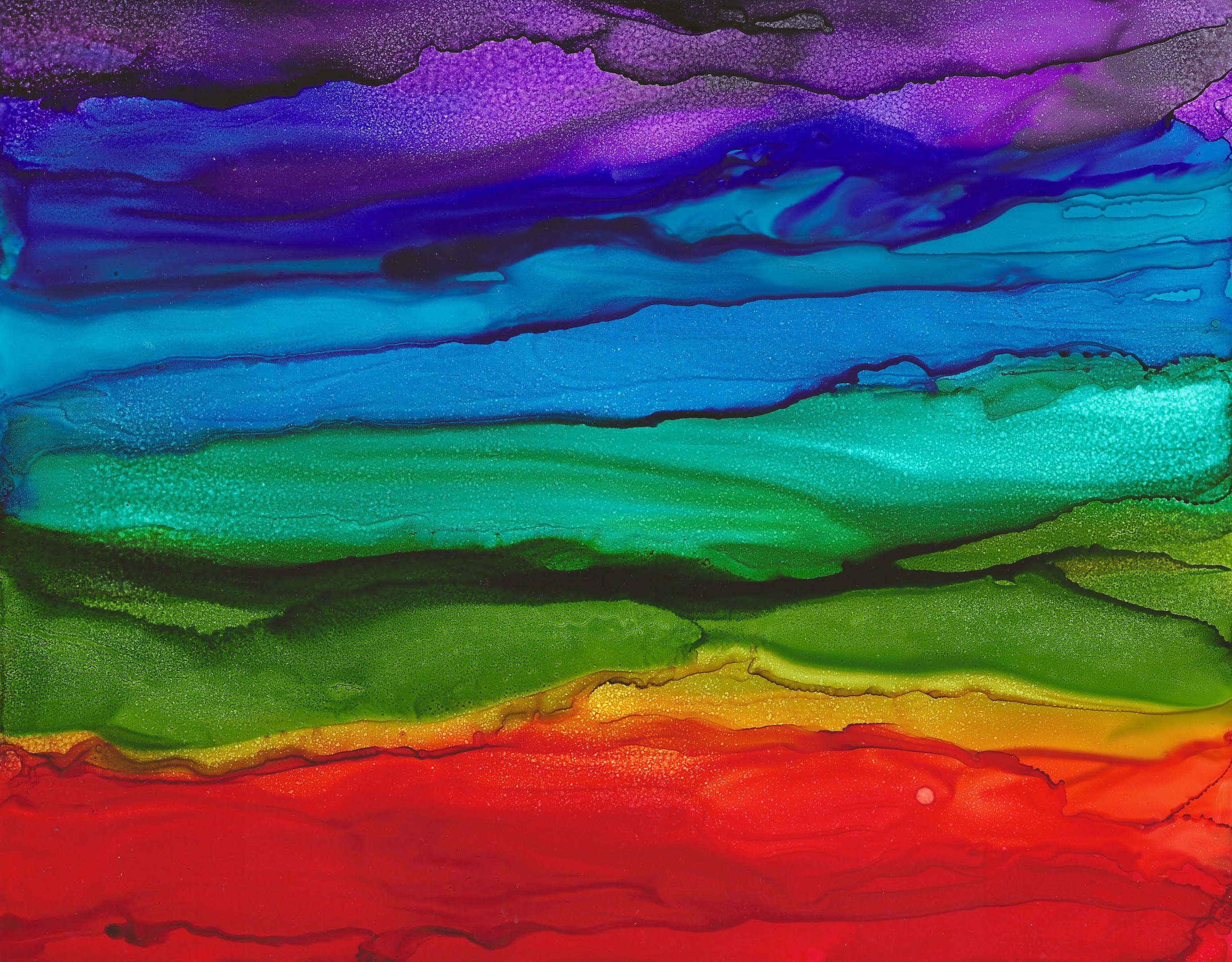 Rainbow Vision - Alcohol Ink - 11 X 14 - $150 - Sold - Print Available