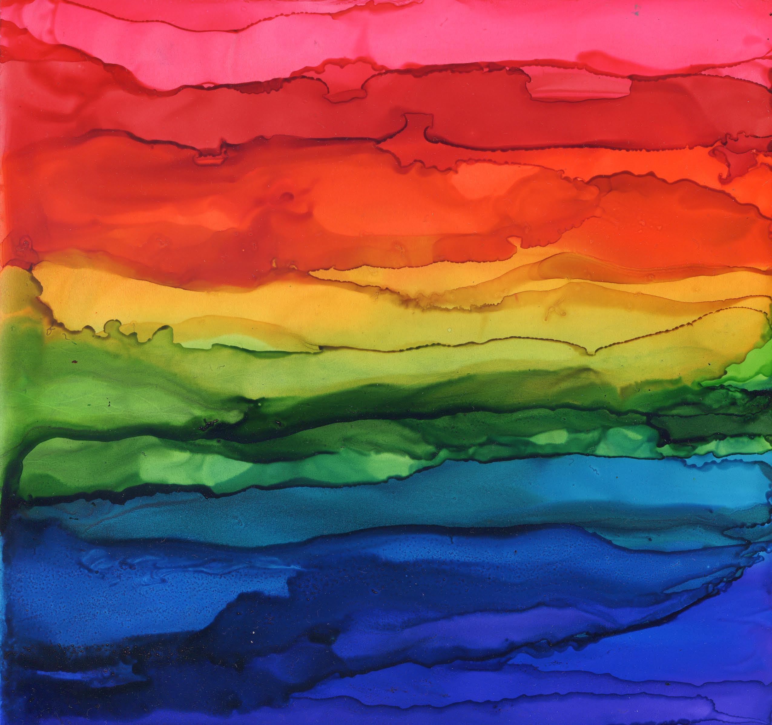 Rainbow Vista - Alcohol Ink - 8 X 8 - $120