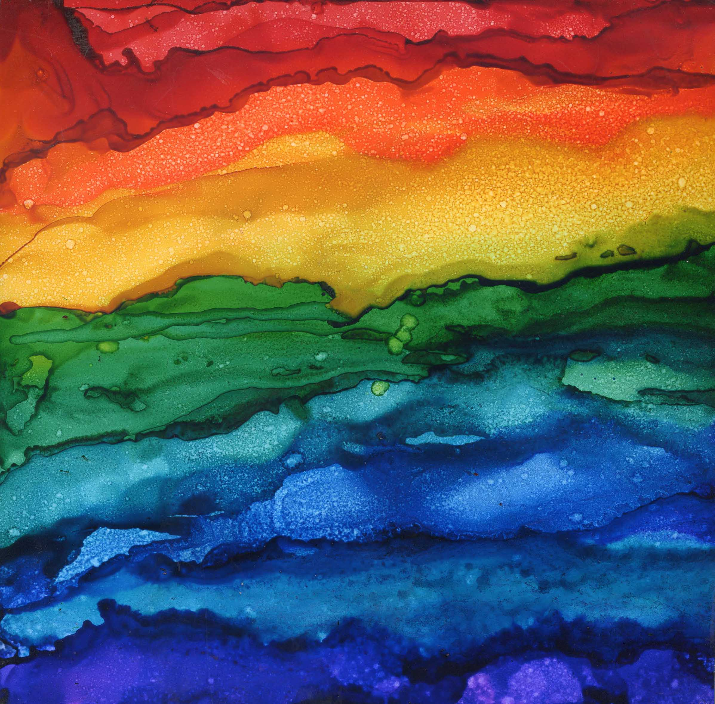 Rainbowed Landscape-Alcohol-Ink-8-x-8- Sold - Print Available