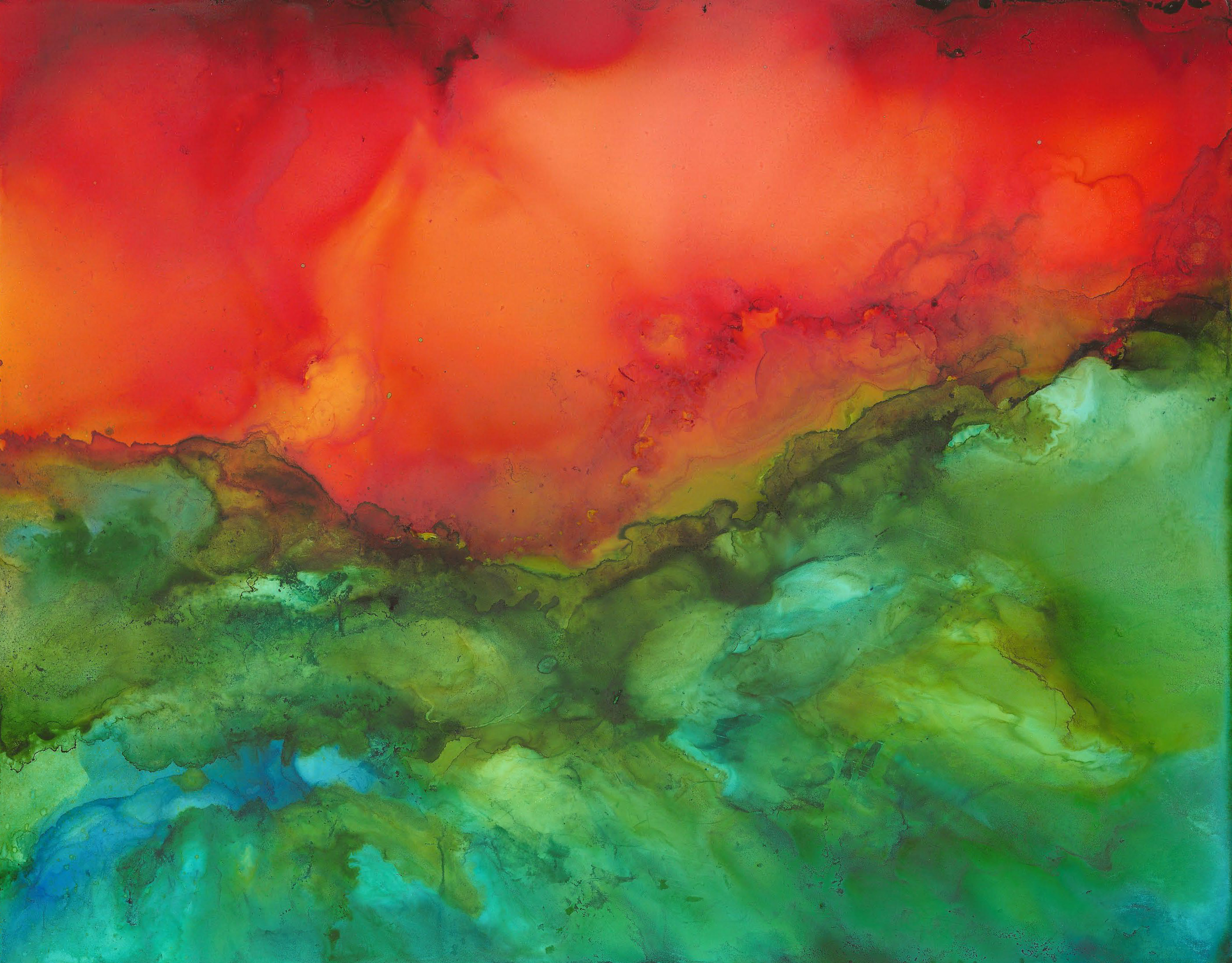 Red Dawn - Alcohol Ink - 11 X 14 - Sold - Print Available