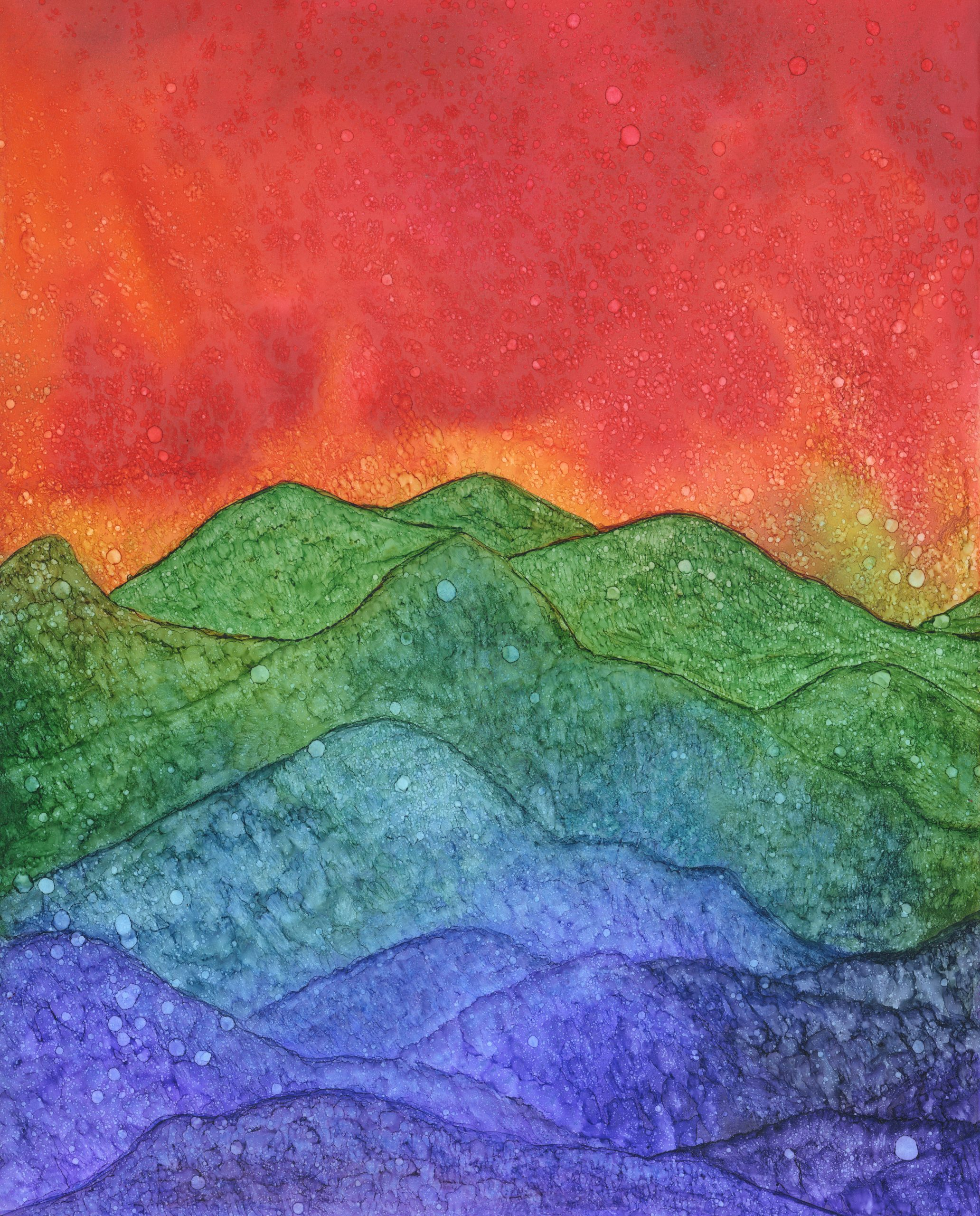Rolling Hills _ Alcohol Ink - 11 X 14 - $160