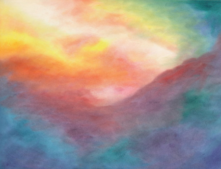 Sunrise Sky - watercolor 20x25, $250