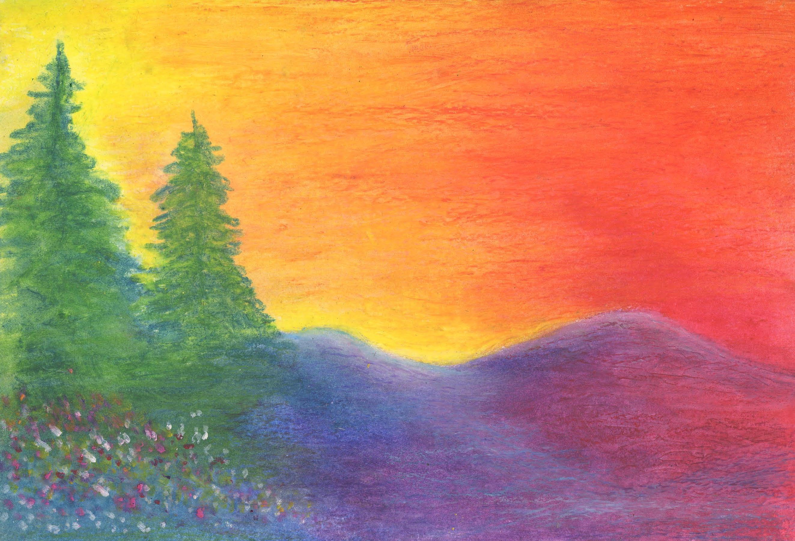 Sunrise in Oregon Oil Pastel 6 X 9 - $80