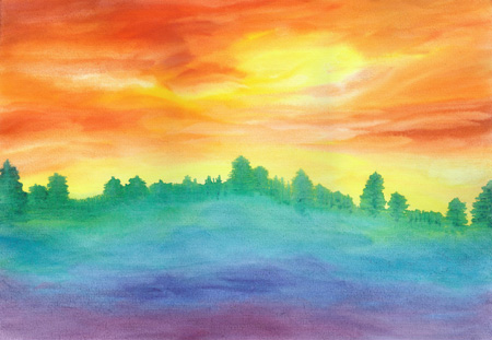 Sunrise on the Horizon - Watercolor - 12 x 17 - $150