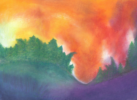 Sunset Against the Trees - watercolor 8x12, $100