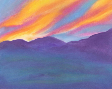 Sunset over the Mountains - oil pastel 11x14, $125