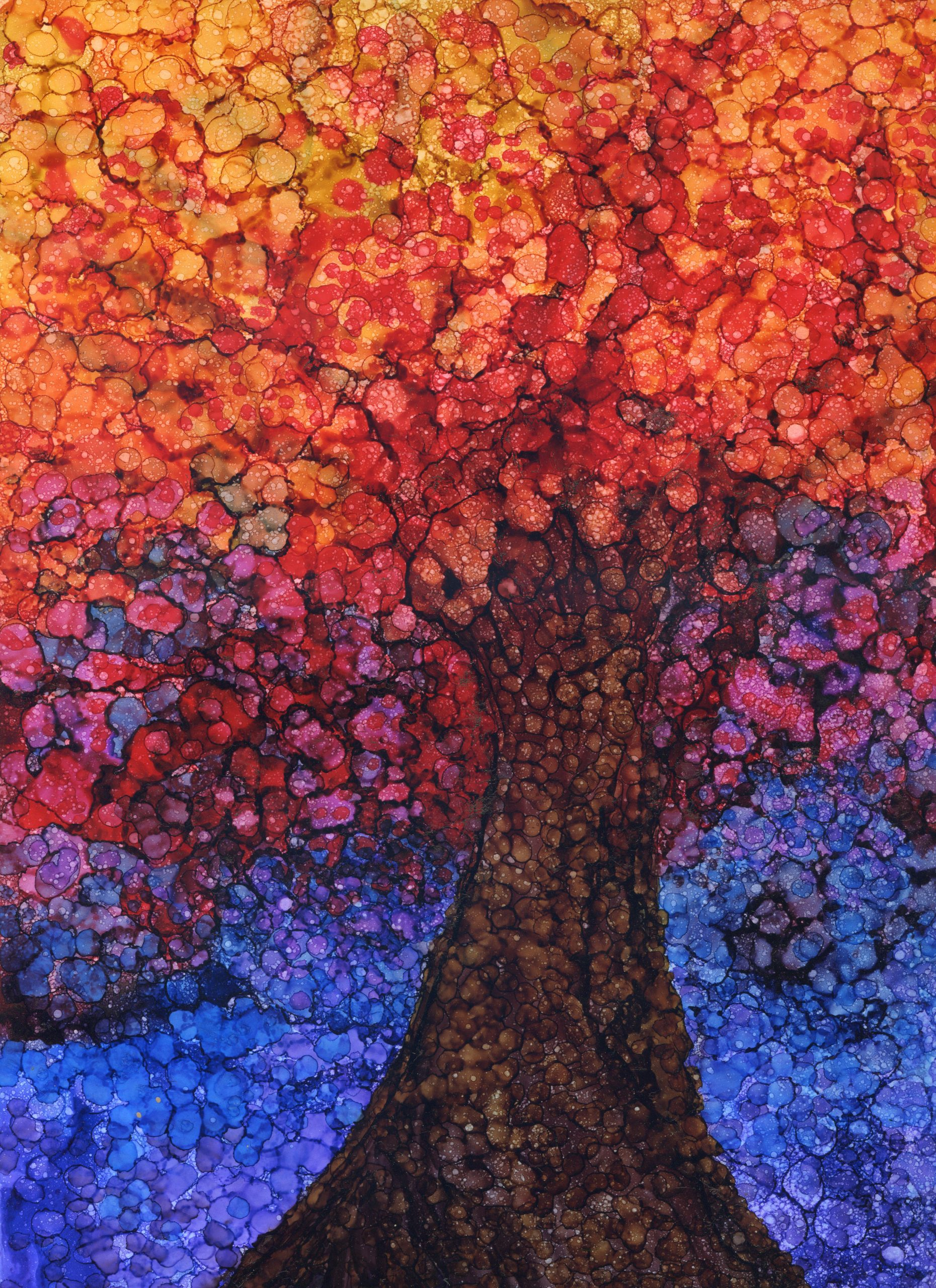 Tree Light - Alcohol Ink - 9 X 12 - $160