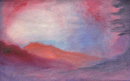 Desert at Dusk - Watercolor 12 x 19 - $150