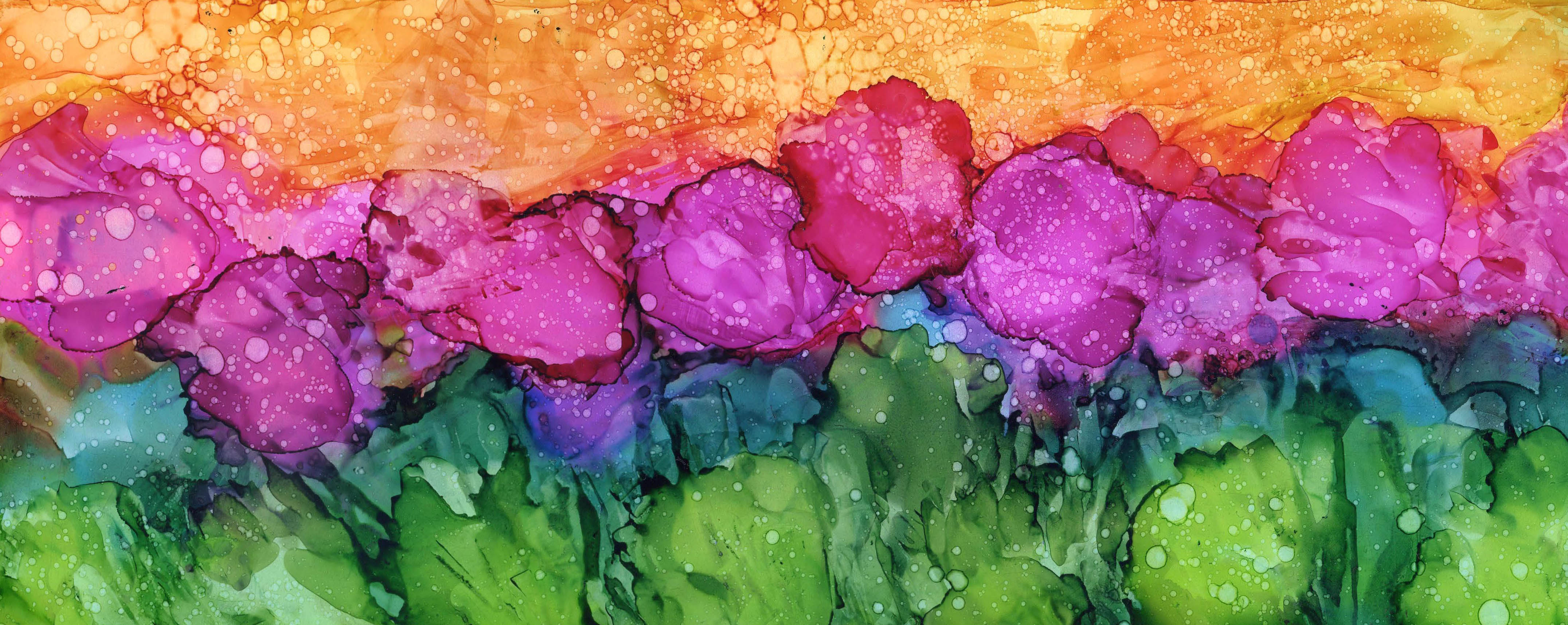 Flowers in May - Alcohol Ink 6 X 15 - Sold - Print Available
