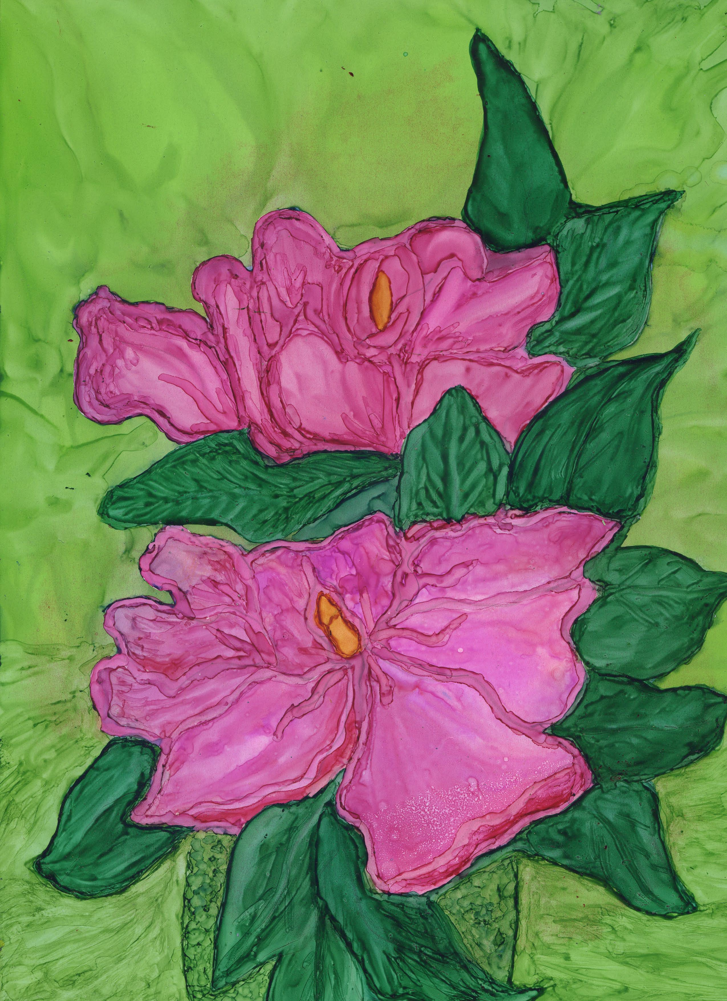 Magnolias in Pink - Alcohol Ink 9 X 12 - $140