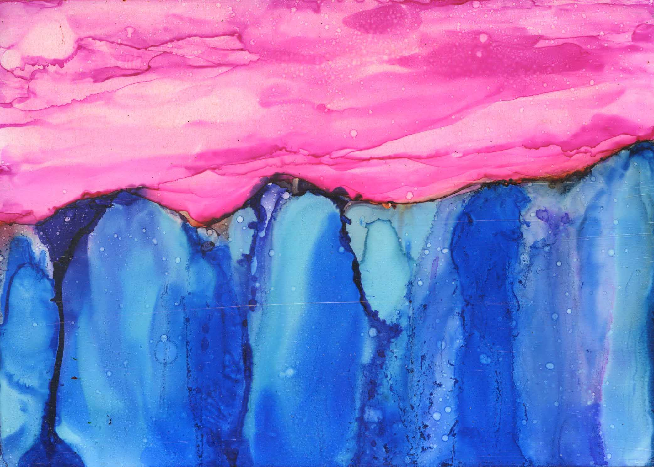 Pink Mountain Skies - Alcohol Ink - 5 X 7 - Sold - Print Available