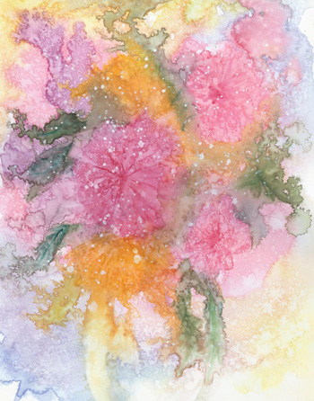 Pink Petunias - Watercolor 10 x 14 - $150