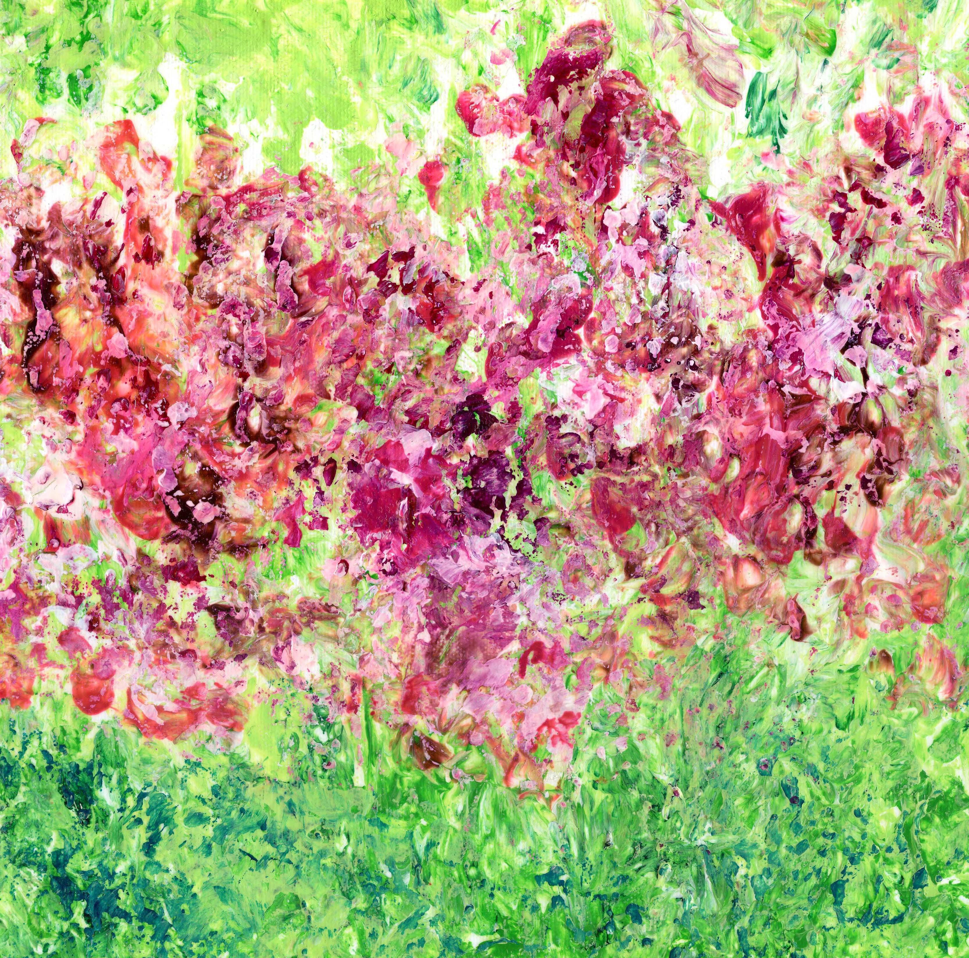 Rosy Flowers - Acrylic 12 X 12 - $170