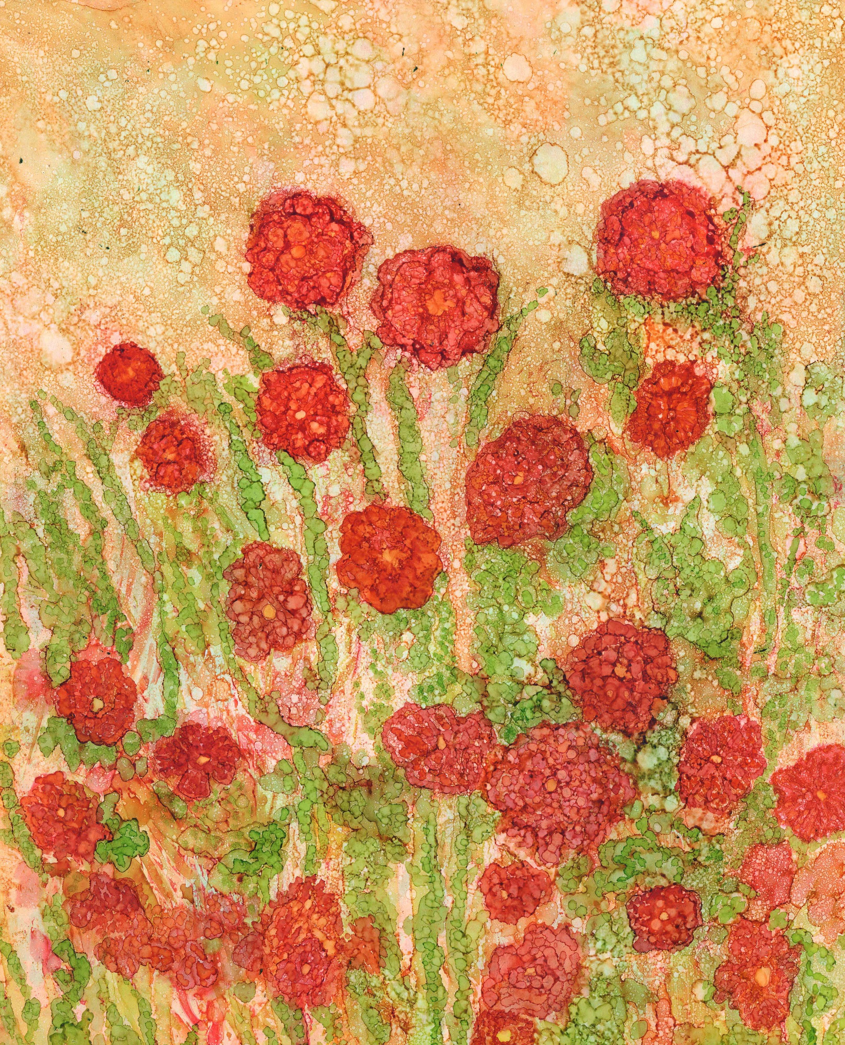 Spring Poppies - Alcohol Ink 11 X 14 - $150