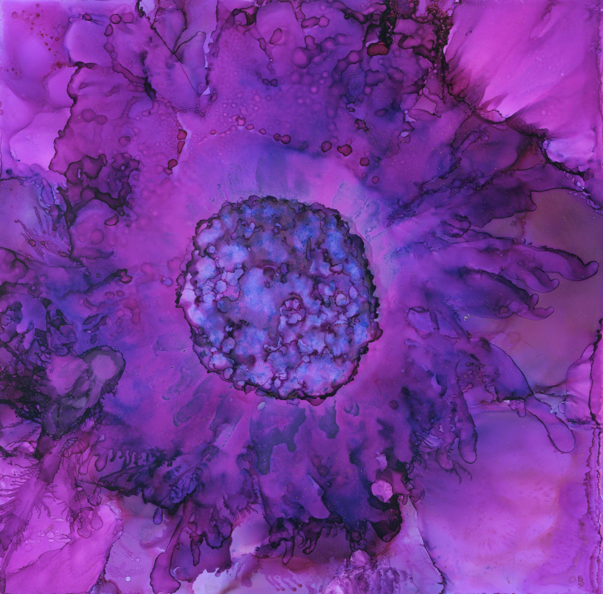 Violet Bloom - Alcohol Ink - 7 X 7 - $120