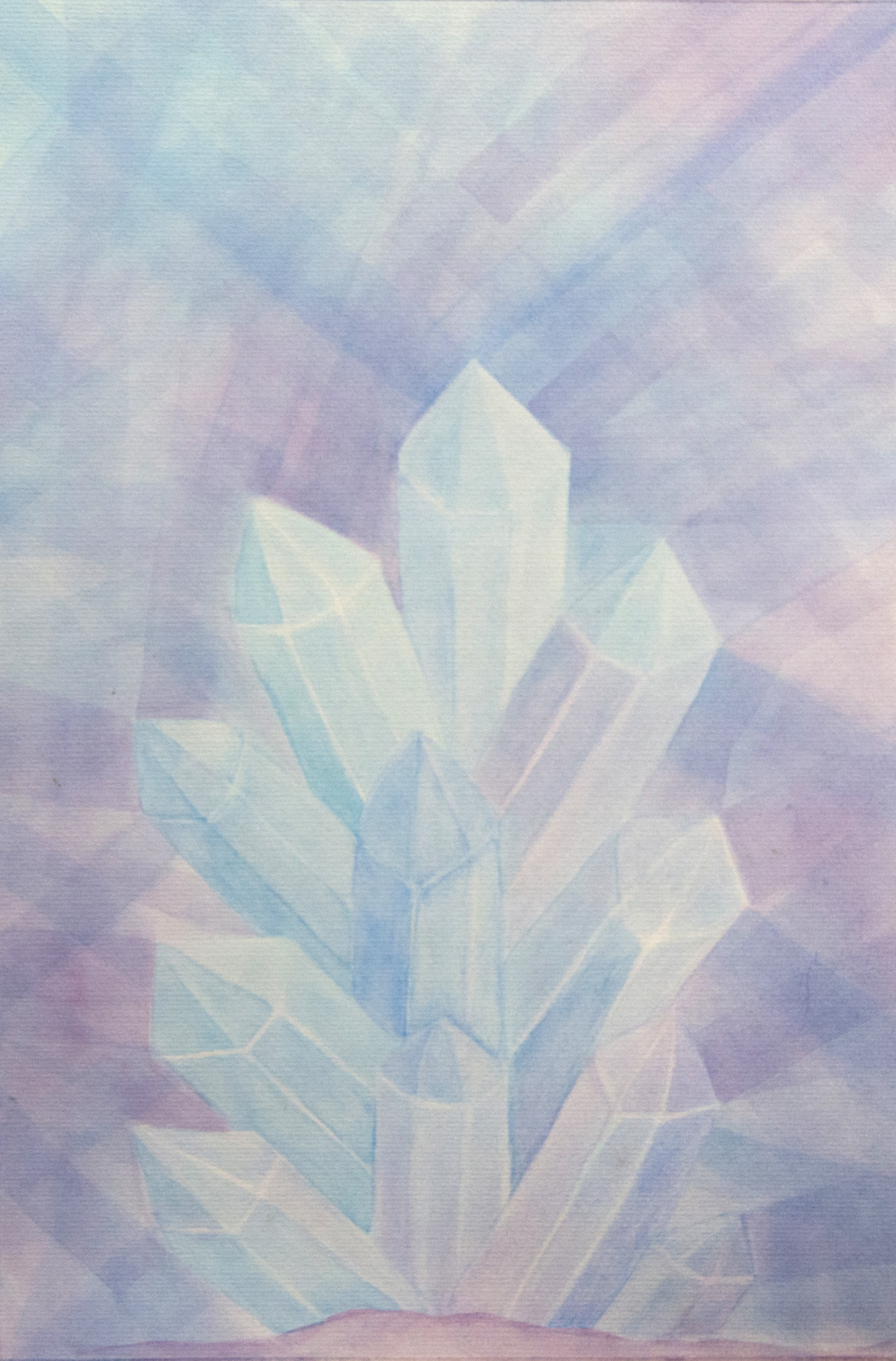 Crystals - Watercolor Veil Painting 14 X 20 - $400