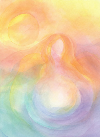 Mother Earth - Watercolor Veil Painting 14 X 21 - SOLD - Print Available