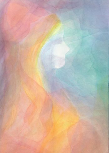 The Princess - Watercolor Veil Painting 14 x 21 - $350